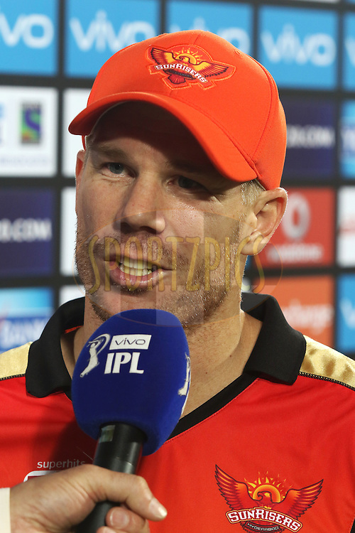 Man of the Match Sunrisers Hyderabad captain David Warner during match 27 of the Vivo IPL 2016 (Indian Premier League) between the Sunrisers Hyderabad and the Royal Challengers Bangalore held at the Rajiv Gandhi Intl. Cricket Stadium, Hyderabad on the 30th April 2016<br /> <br /> Photo by Shaun Roy / IPL/ SPORTZPICS