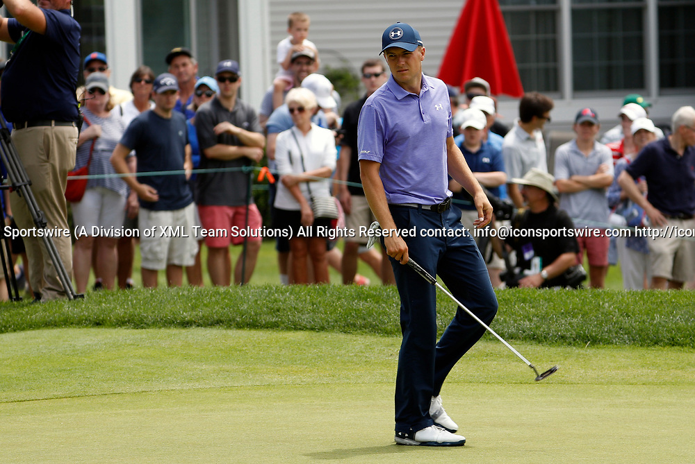 CROMWELL, CT - JUNE 23: Jordan Spieth looks back at his missed putt on 8 during the second round of the Travelers Championship on June 23, 2017, at TPC River Highlands in Cromwell, Connecticut. (Photo by Fred Kfoury III/Icon Sportswire)