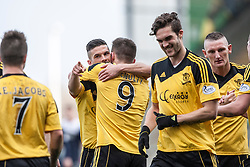 Livingston Mark McNulty (9) celebrates after scoring their first goal.<br /> Falkirk 1 v 1 Livingston, Scottish Championship game today at The Falkirk Stadium.<br /> &copy; Michael Schofield.