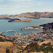 A panoramic view of Lyttelton, a port town on the north shore of Lyttelton Harbour close to Banks Peninsula, a suburb of Christchurch on the eastern coast of the South Island, New Zealand. 23rd July 2011.  Photo Tim Clayton