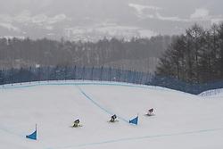 February 23, 2018 - Pyeongchang, SOUTH KOREA - 180223 Julia Eichinger of Germany, Nikol Kucerova of Czech Republic and Sandra Näslund of Sweden competes in the Women's Freestyle Skicross 1/8 Final during day fourteen of the 2018 Winter Olympics on February 23, 2018 in Pyeongchang..Photo: Joel Marklund / BILDBYRÃ…N / kod JM / 87646 (Credit Image: © Joel Marklund/Bildbyran via ZUMA Press)