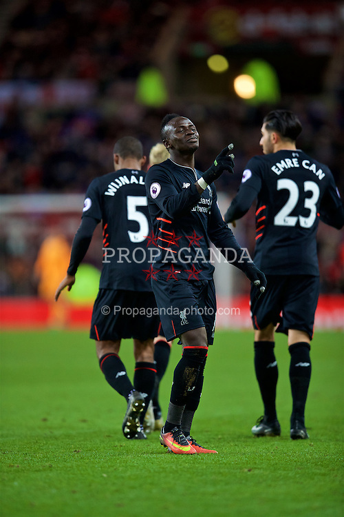 SUNDERLAND, ENGLAND - Monday, January 2, 2017: Liverpool's Sadio Mane celebrates scoring the second goal against Sunderland during the FA Premier League match at the Stadium of Light. (Pic by David Rawcliffe/Propaganda)