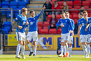 Murray Davidson (#8) of St Johnstone FC salutes the St Johnstone fans after scoring their second goal during the Ladbrokes Scottish Premiership match between St Johnstone and Motherwell at McDiarmid Stadium, Perth, Scotland on 11 May 2019.