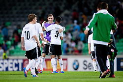 Jeremy Dudziak of Germany and other players celebrate victory during the UEFA European Under-17 Championship Group A match between Germany and France on May 10, 2012 in SRC Stozice, Ljubljana, Slovenia. Germany defeated France 3:0. (Photo by Matic Klansek Velej / Sportida.com)