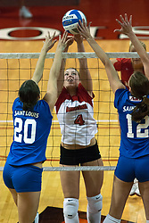 26 September 2006: Redbird Erin Lindsey and Billikens Angela Powers and Lauren Christman battle at the net. The match was tough and it took the Illinois State Redbirds 5 games to defeat the St. Louis University Billikens. The match took place at Redbird Arena on the campus of Illinois State University in Normal Illinois.