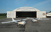 Airplanes in front of the Kent State University Airport