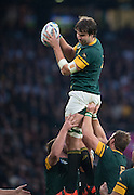 Twickenham. Great Britain,   Eban ETZETETH, collects the line out ball. during, Semi Final. South Africa vs New Zealand  2015 Rugby World Cup,  Venue, Twickenham Stadium, Surrey England.   Saturday  24/10/2015.   [Mandatory Credit; Peter Spurrier/Intersport-images]