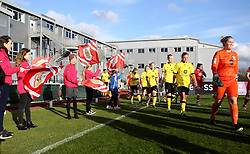 The flag bearers welcome Bristol City Women and Aston Villa Ladies - Mandatory by-line: Robbie Stephenson/JMP - 28/04/2016 - FOOTBALL - Stoke Gifford Stadium - Bristol, England - Bristol City Women v Aston Villa Ladies - FA Women's Super League 2