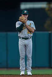 SAN FRANCISCO, CA - AUGUST 13: Matt Chapman #26 of the Oakland Athletics stands on the field during the second inning against the San Francisco Giants at Oracle Park on August 13, 2019 in San Francisco, California. The San Francisco Giants defeated the Oakland Athletics 3-2. (Photo by Jason O. Watson/Getty Images) *** Local Caption *** Matt Chapman