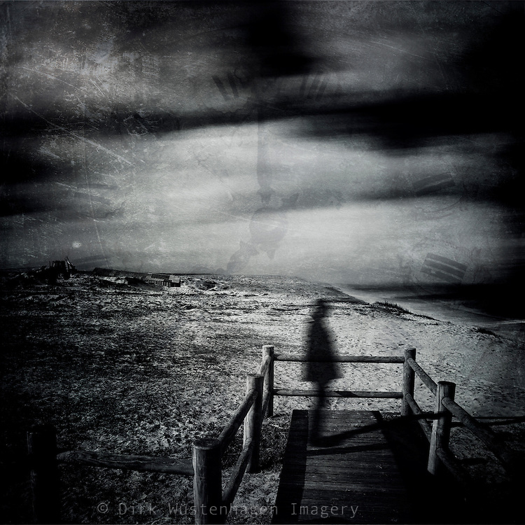 waiting for something to happen - surreal landscape with blurry man
