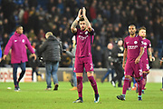 Kyle Walker (2) of Manchester City applauds, claps the Man City fans at full time after a 2-0 win over Cardiff during the The FA Cup 4th round match between Cardiff City and Manchester City at the Cardiff City Stadium, Cardiff, Wales on 28 January 2018. Photo by Graham Hunt.