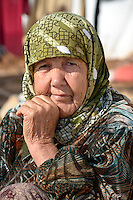 Fouda Boustani, age 85, is from Maaret al Naasan but now residing in the camp for displaced persons in  Atmeh, Syria