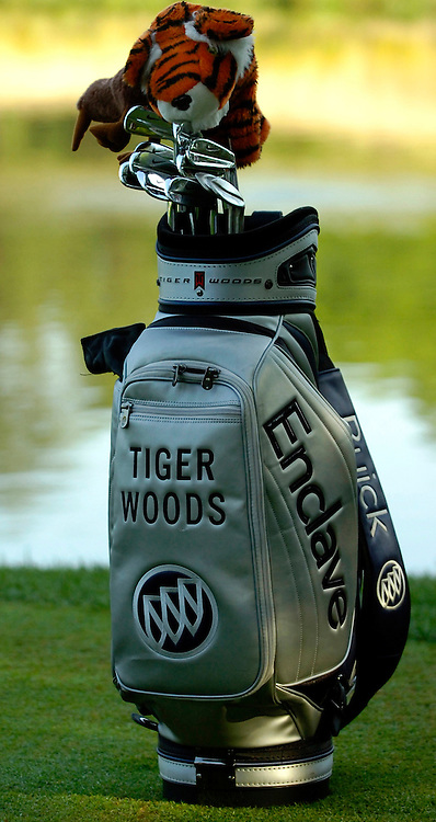 06 July 2007:  Tiger Woods golf bag sits on the 10th green in the second round of the inaugural AT&T National PGA event at Congressional Country Club in Bethesda, Md.