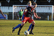 Melissa Fletcher holding up the ball during the FA Women's Cup match between Crystal Palace LFC and Reading Women at Bromley, England on 8 February 2015. Photo by Michael Hulf.