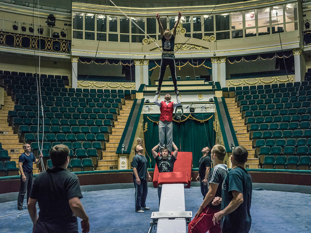 Acrobats from Belarus practice their circus act on Wednesday, November 25, 2015 in Minsk, Belarus.