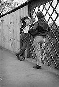 Nev and Gary on Railway Bridge, High Wycombe, UK, 1980s.