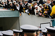 6 Dec 2008: Navy Midshipman heckle Army Cadets as the Cadets exit the field before the Army / Navy game December 6th, 2008. At Lincoln Financial Field in Philadelphia, Pennsylvania.