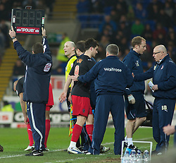 CARDIFF, WALES - Tuesday, February 1, 2011:  Reading's Shane Long is subsitued off after injury during the Football League Championship match at the Cardiff City Stadium. (Photo by Gareth Davies/Propaganda)