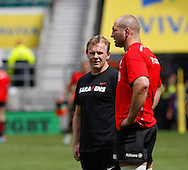 Saracens Director of Rugby Mark McCall (L) talks to Steve Borthwick of Saracens (R) before the Aviva Premiership final at Twickenham Stadium, Twickenham<br /> Picture by Andrew Tobin/Focus Images Ltd +44 7710 761829<br /> 31/05/2014