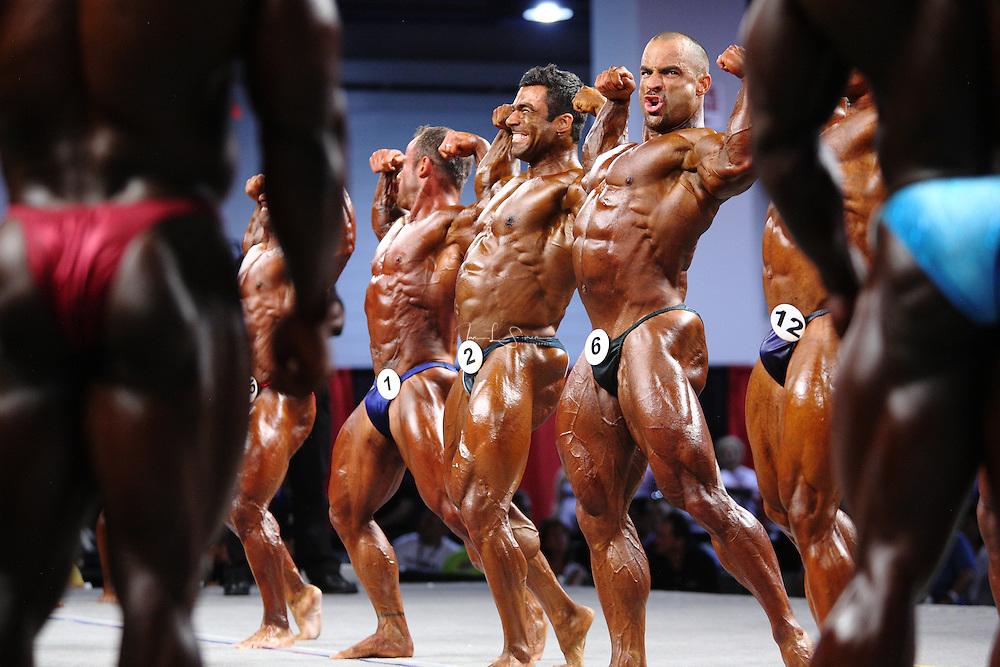 On stage at the pre-judging for the 2009 Olympia 202 competition in Las Vegas..Mark Dugdale, Eduardo Correa Da Silva