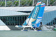 Oman Air on day one of the Extreme Sailing Series regatta being sailed in Singapore. 20/2/2014