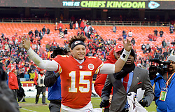 Dec 9, 2018; Kansas City, MO, USA; Kansas City Chiefs quarterback Patrick Mahomes (15) waves to fans while leaving the field after the game against the Baltimore Ravens at Arrowhead Stadium. Mandatory Credit: Denny Medley-USA TODAY Sports