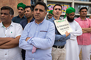 "The Pakistani community in Barcelona condemns in a solemn act the attacks perpetrated by the ISIS on 17 August on the Ramblas and in Cambrils. About 200 people gathered to read a manifest that pointed as ""cruel and cowards"" the attacks, also repudiated all terrorist violence against humanity. The solidarity and sadness of this community towards the victims also became evident with messages of support and affection towards Barcelona, remembering that Barcelona is a peaceful city that went out massively to the street in a ""Stop the War"" in Iraq in 2003, a city that ""lives and lets live"". The Prime Minister of Pakistan sent a missive conveying his deepest condolences to the innocent victims and their families, a pain that for Pakistan is known due to the many terrorist attacks that has suffered. The event was held discreetly in a central area of Barcelona, but far away from the gaze of thousands of civilians who expressed their sadness in the Rambla de Canaletes. The catalan motto ""no tinc por"" meaning ""I'm not scared"" also was between the placards in this call. <br /> Place: Jardins de les Tres Xemeneies. Date: august 19, 2017. Photo: Eva Parey/4SEE"