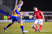 John Fleck of Coventry City FC gets a shot away during the Sky Bet League 1 match between Shrewsbury Town and Coventry City at Greenhous Meadow, Shrewsbury, England on 8 March 2016. Photo by Mike Sheridan.