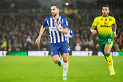 Martin Montoya (Brighton) runs for the ball pursued by Onel Hernandez (Norwich) during the Premier League match between Brighton and Hove Albion and Norwich City at the American Express Community Stadium, Brighton and Hove, England on 2 November 2019.