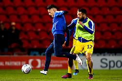 Tom Nichols and Alex Jakubiak of Bristol Rovers warm up at Doncaster Rovers - Mandatory by-line: Robbie Stephenson/JMP - 26/03/2019 - FOOTBALL - Keepmoat Stadium - Doncaster, England - Doncaster Rovers v Bristol Rovers - Sky Bet League One