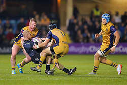 Tom Homer of Bath Rugby is tackled by Will Hurrell and Ryan Edwards of Bristol Rugby - Rogan Thomson/JMP - 20/10/2016 - RUGBY UNION - The Recreation Ground - Bath, England - Bath Rugby v Bristol Rugby - EPCR Challenge Cup.