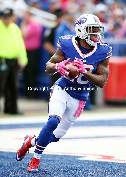 Buffalo Bills wide receiver Percy Harvin (18) returns a kick during the 2015 NFL week 4 regular season football game against the New York Giants on Sunday, Oct. 4, 2015 in Orchard Park, N.Y. The Giants won the game 24-10. (©Paul Anthony Spinelli)
