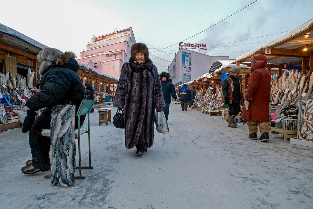Stalls with standing deep-frozen fish on the Yakutsk outdoor fish market. A saleswoman created a armrest for her chair out of a block of deep-frozen fish. Yakutsk is a city in the Russian Far East, located about 4 degrees (450 km) below the Arctic Circle. It is the capital of the Sakha (Yakutia) Republic (formerly the Yakut Autonomous Soviet Socialist Republic), Russia and a major port on the Lena River. Yakutsk is one of the coldest cities on earth, with winter temperatures averaging -40.9 degrees Celsius.