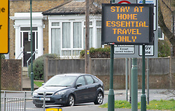 ©Licensed to London News Pictures 02/04/2020  <br /> Bexley, UK. Covid-19 stay at home, essential travel only road sign in Bexley village Bexley, Greater London.Photo credit:Grant Falvey/LNP
