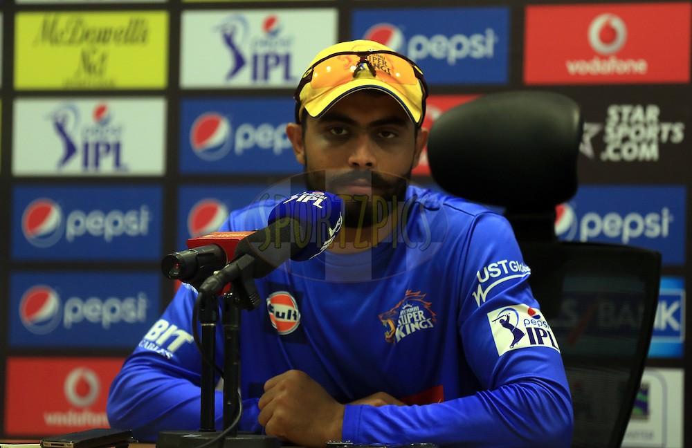 Ravindra Jadeja of The Chennai Superkings during the press conference of the  match 10 of the Pepsi Indian Premier League Season 7 between the Chennai Superkings and the Rajasthan Royals held at the Dubai International Stadium, Dubai, United Arab Emirates on the 23rd April 2014<br /> <br /> Photo by Sandeep Shetty / IPL / SPORTZPICS