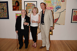 Left to right,  SIR PETER & LADY BLAKE and PAUL THOMPSON Rector of the Royal College of Art at a private view of the late Ian Dury's artwork entitled Ian Dury: More Than Fair – Paintings, drawings and artworks, 1961–1972 held at the Royal College of Art, Kensington Gore, London SW7 on 22nd July 2013.