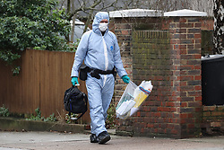 © Licensed to London News Pictures. 06/02/2019. London, UK. Scenes of crime forensics officers at the crime scene on Westbridge Road in Battersea where a 19 year old man was fatally stabbed last night. Police have arrested two men. Photo credit: Peter Macdiarmid/LNP