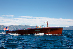 """""""Gar Wood on Lake Tahoe 2"""" - This classic wooden Gar Wood boat was photographed on Lake Tahoe during the 2011 Concours d'Elegance."""