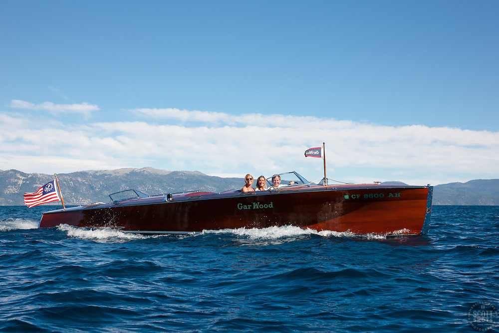 """Gar Wood on Lake Tahoe 2"" - This classic wooden Gar Wood boat was photographed on Lake Tahoe during the 2011 Concours d'Elegance."