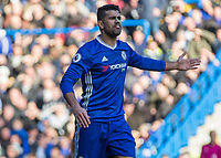 Football - 2016 / 2017 Premier League - Chelsea vs. West Bromwich Albion<br /> <br /> Diego Costa of Chelsea shows his frustration to the referee at Stamford Bridge.<br /> <br /> COLORSPORT/DANIEL BEARHAM