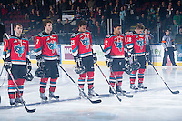 KELOWNA, CANADA - DECEMBER 5: Cole Martin #8, Damon Severson #7, Colton Heffley #25, Tyrell Goulbourne #12 and Cody Fowlie #18 of the Kelowna Rockets line up at the start of the game against the Swift Current Broncos at the Kelowna Rockets on December 5, 2012 at Prospera Place in Kelowna, British Columbia, Canada (Photo by Marissa Baecker/Shoot the Breeze) *** Local Caption ***
