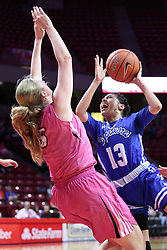 NORMAL, IL - February 10: Alexis Delgado commits an offensive foul against Lexy Koudelka during a college women's basketball Play4Kay game between the ISU Redbirds and the Indiana State Sycamores on February 10 2019 at Redbird Arena in Normal, IL. (Photo by Alan Look)