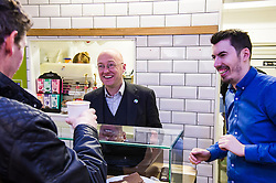 Pictured: Patrick Harvei and manager Leo Smith<br /> <br /> Greens co-cordinator Partrick Harvie headed to Rose Street in Edinburgh today to serve customers at Social Bite cafe, a social enterprise supporting the homeless<br /> <br /> Ger Harley | EEm 20 April 2016