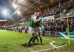 Hibernian's Liam Craig celebrates after scoring their second goal, with team mate James Collins in front of the fans.<br /> Dundee United 2 v 2 Hibernian, Scottish Premiership game today at Tanadice.