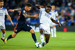 Darnell Johnson of Leicester City tackles Cristiano Piccini of Valencia - Mandatory by-line: Robbie Stephenson/JMP - 01/08/2018 - FOOTBALL - King Power Stadium - Leicester, England - Leicester City v Valencia - Pre-season friendly