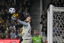 April 29, 2018 - Los Angeles, California, U.S - Stefan Frei #24, goalie of the Seattle Sounders pushes out the ball during their MLS game against the LAFC on Sunday April 29, 2018, their first game at the Banc of California Stadium in Los Angeles, California. LAFC defeats Sounders, 1-0. (Credit Image: © Prensa Internacional via ZUMA Wire)