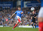 Portsmouth midfielder Danny Hollands with a shot on goal during the Sky Bet League 2 match between Portsmouth and Carlisle United at Fratton Park, Portsmouth, England on 2 April 2016. Photo by Adam Rivers.