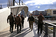 UN troops crossing the Mitrovica bridge on peacekeeping patrol, over the river Ibar which separates the Serbian and Albanian districts of Mitrovica, Kosovo on the 12th of December 2018, it was rebuilt with funding from the EU. Mitrovica or Kosovska Mitrovica is a city and municipality located in Kosovo. Settled on the banks of Ibar and Sitnica rivers, the city is the administrative center of the Mitrovica District.  (photo by Andrew Aitchison / In pictures via Getty Images)
