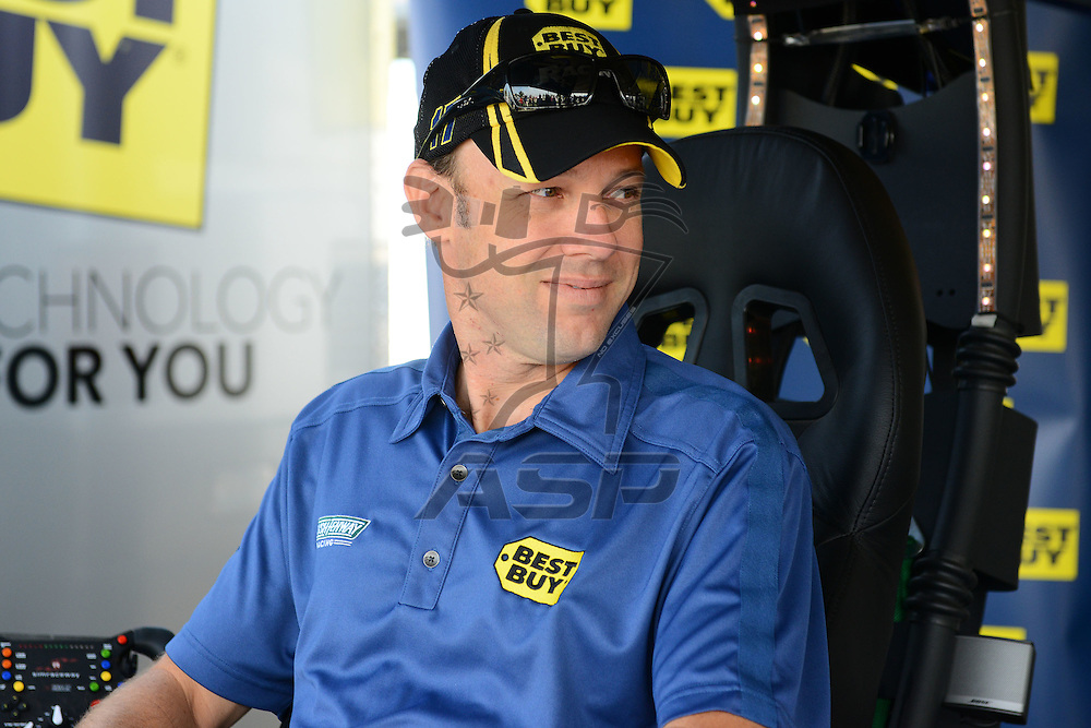 Joliet, IL - SEP 14, 2012:  Matt Kenseth (17) participates in a Best Buy fan zone activity before practice for the Geico 400 at the Chicagoland Speedway in Joliet, IL.
