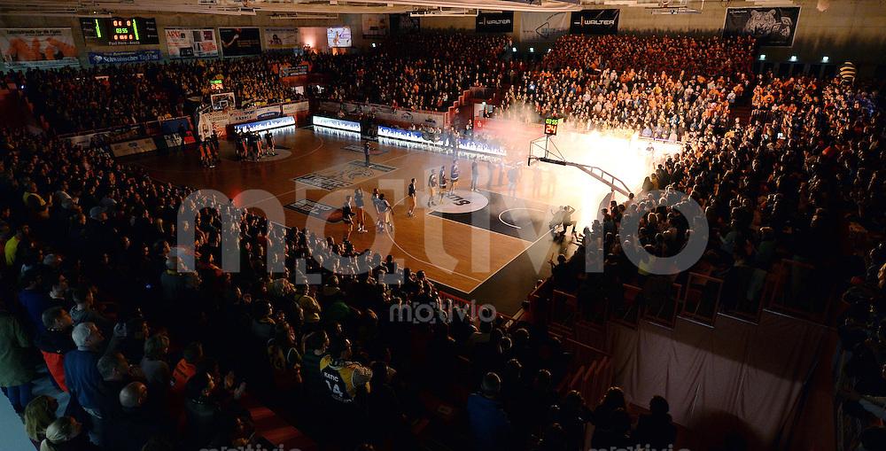 Basketball 1. Bundesliga  2013/2014 Walter Tigers Tuebingen - ratiopharm Ulm      01.03.2014 Hallenuebersicht bei der Teamvorstellung der Tigers in der Paul Horn Arena